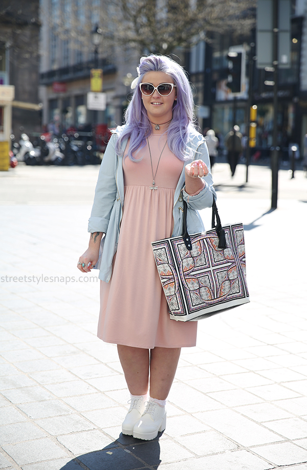 Liverpool Street Style Snaps Pastel Hair Lavender Purple Topshop Warped Tile Print Coat Select White Cleated Sole Heeled Brogue Shoes Ankle Boots Boohoo Midi Dress Pale pink