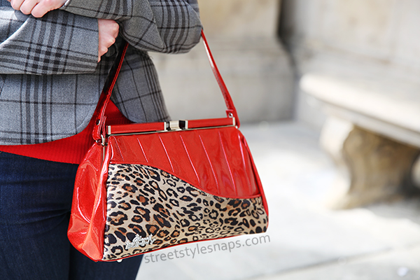 Glamour Bunny Bag Curve Red Glitter Leopard Print