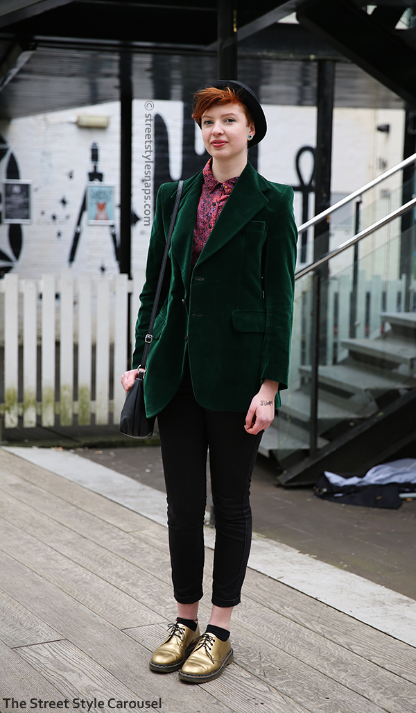 Dr. Martens Gold Shoes 1461 Vintage Velvet Jacket Green Birmingham Street Style Custard Factory Retro