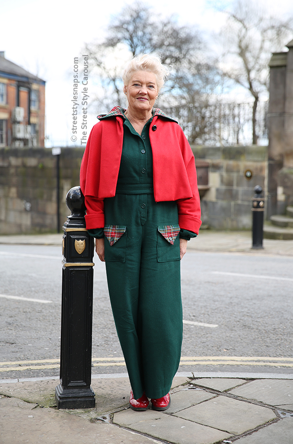1940s Siren Suit Dragonfly Vintage Jacket Dr. Martens Red Patent Boots Street Style Retro Vintage Village at Stockport Market Hall