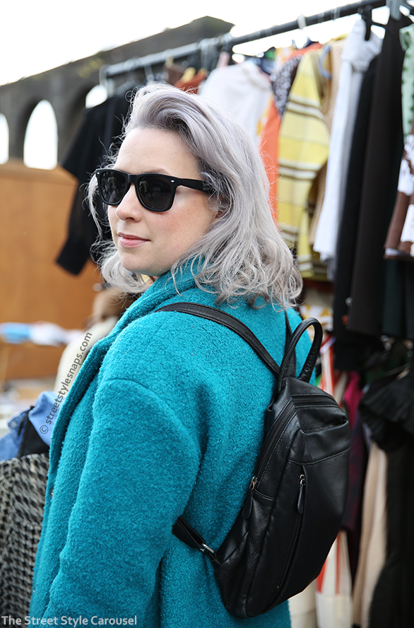 Vintage Backpack Black Tu at Sainsbury's Coat Textured Teddy Blue Green Teal Aquamarine Light Teal