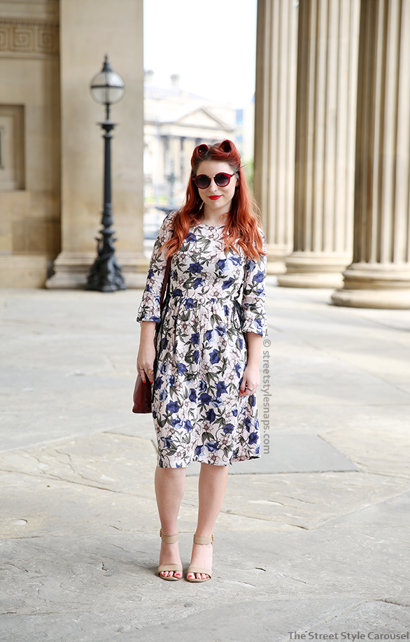 Topshop Autumn Floral Print Tie-Side Dress Midi