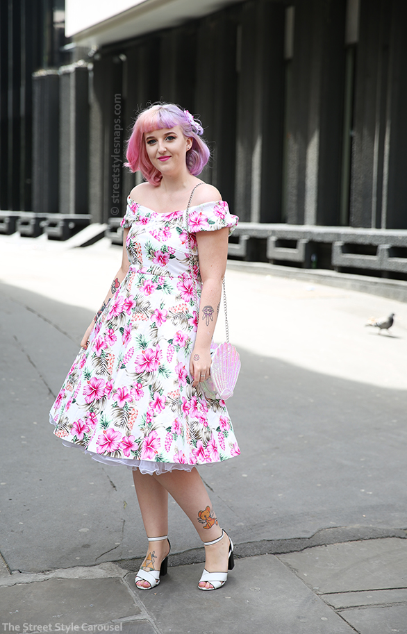 Lindy Bop Cynthia Hibiscus Dress Pink White Floral