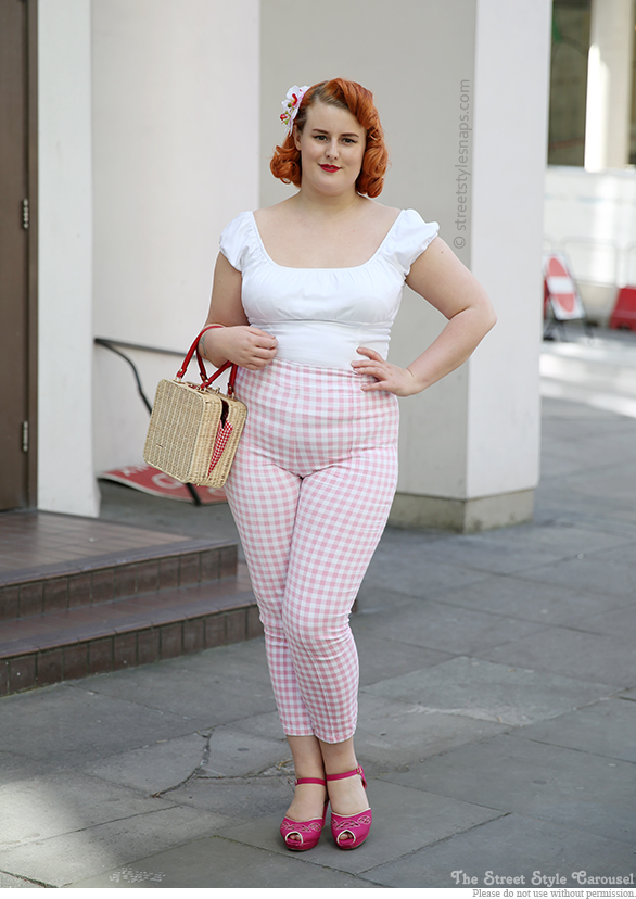Collectif Bonnie Cigarette Trousers Pink Gingham B.A.I.T. Bipsy Magenta Heels Banned Kara Bag Basket Pinup Girl Clothing Peasant Top White