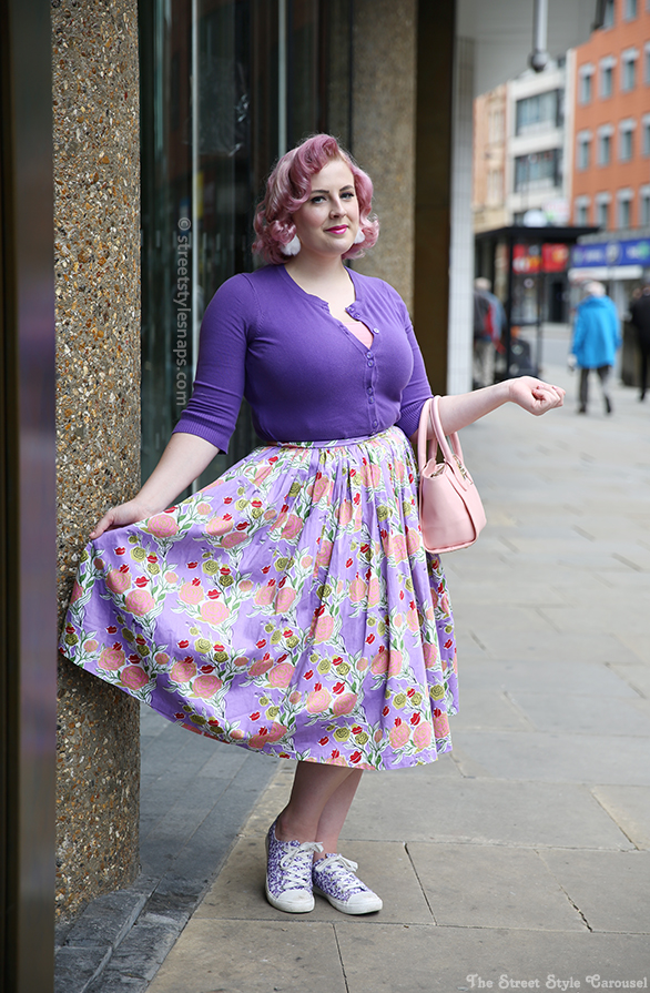 Pinup Girl Clothing Mary Blair Lips and Roses Jenny Skirt Lavender Pastel London Street Style
