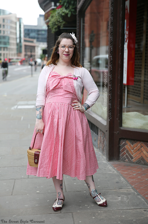 Unique Vintage 1950s White & Pink Stripe Golightly Bow Swing Dress