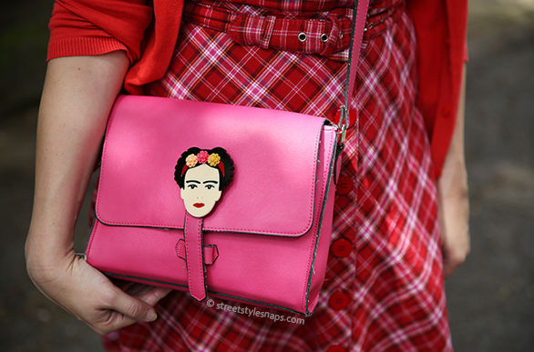 Lou Taylor Frida Kahlo Flower Brooch JOY Pink Satchel Bag