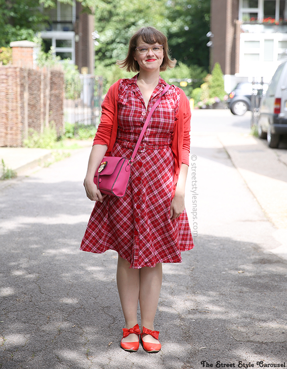 Seamstress of Bloomsbury Lisa Dress Tartan Red Pink