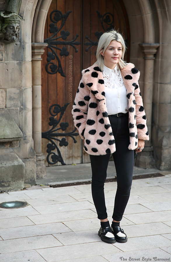 Topshop Faux Fur Coat Polka Dot Pink Black Fluffy Birmingham Street Style Lace Trim Shirt