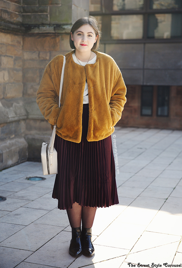 46ed4653 Zara Faux Fur Jacket Pistachio Mustard Yellow H&M Glitter Tights Pleated  Midi Skirt